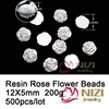 Rose Flower Resin Beads Flatback Rhinestones For Jewelry Decoration 12x5mm 500pcs Fashion Cabochon Resin Beads For