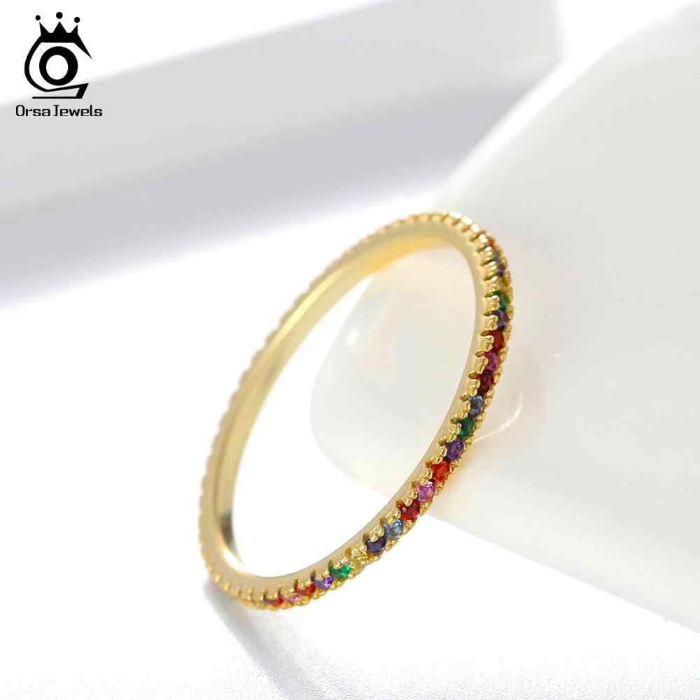 ORSA JEWELS 925 Sterling Silver Women Rings Colorful AAA Zircon Gold-color Wedding Band Silver Jewelry Finger Ring 2019 OSR63-G