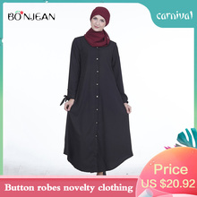 Double-breast Turkey Double Sided Islamic Dress Muslim Dress Summer Adult Solid Color Abaya Dress Button Robes Novelty Clothing
