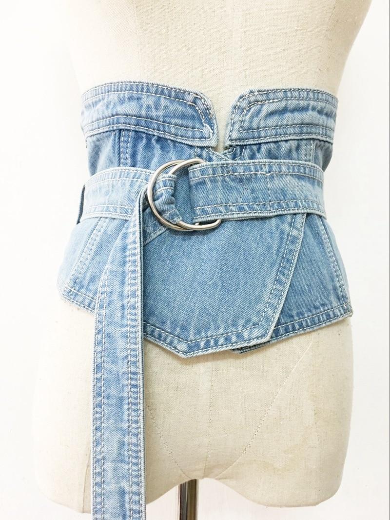 Korean Denim Jean Fabric Waist   Belt   For Women Wide Corset   Belt   Retro Design Front Tie up Waist   Belt   Girl Costume Dress   Belts   New