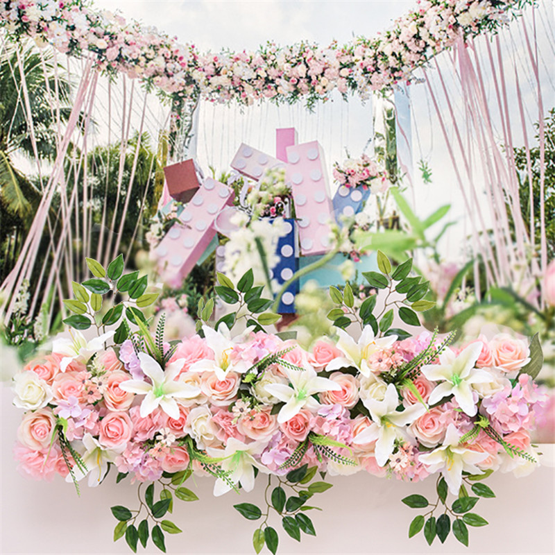 1 M mariage luxe route cité fleurs artificielles Rose lys hortensia bricolage porte arquée fleur rangée T Station noël mur personnalisé - 4
