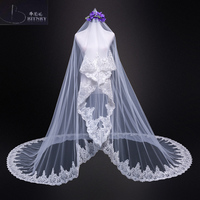 New Lace Edge Arabic Long Cathedral Bridal Veil One Layer Wedding Veil For Brides Accessories Real Photos 2018