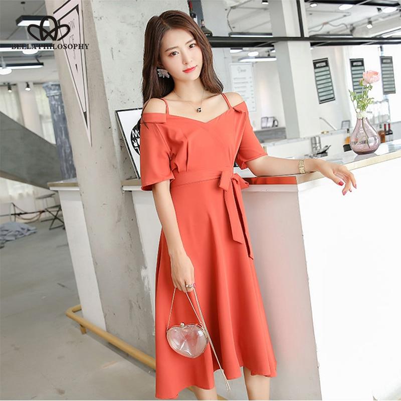 Bella Philosophy 2018 new spring women solid sweet dress half sleeve loose mid calf dress empire sashes slash neck women dress