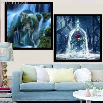 3D Diy Diamond Painting Flowers Needlework Diamond Embroidery Rose Wall Stickers Wolf Santa Claus Home Decor