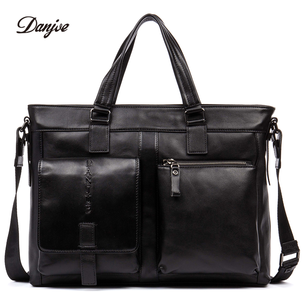 DANJUE High Quality Genuine Leather Laptop Bag Fashion Men Handbag Solid Color Business Briefcase Male Trendy Tote Men Leisure free shipping free shipping 10pcs 10x15x4 hybrid ceramic stainless greased bearing smr6700c 2os a7