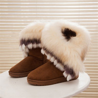 2017 Women Snow Ankle Boots Female Wedges Fox Fur Winter Boots Warm Australia Fashion Ladies Shoes