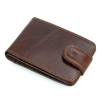 Men Cowhide Genuine Leather Card Holder Clasp Vintage Card Organizer Bank Card Case Men Small Retro
