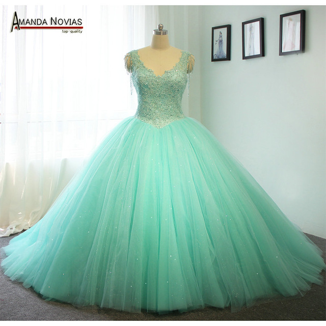 High Quality Customer Order Mint Green Wedding Dress Ball Gown Style 100 Real Photos