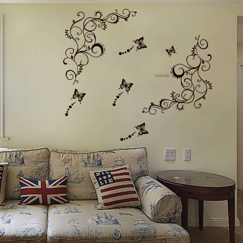 Home & Kitchen Butterfly And Vine DIY Removable Vinyl Decal Art Mural Home Decor Wall Stickers DC120