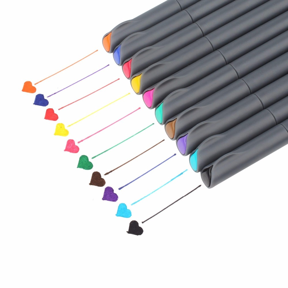 10pcs/pack Fineliner Color Pen Set, 0.38mm Colored Sketch Drawing Pen, Fine Point Marker Perfect For Bullet Journal Note Taking