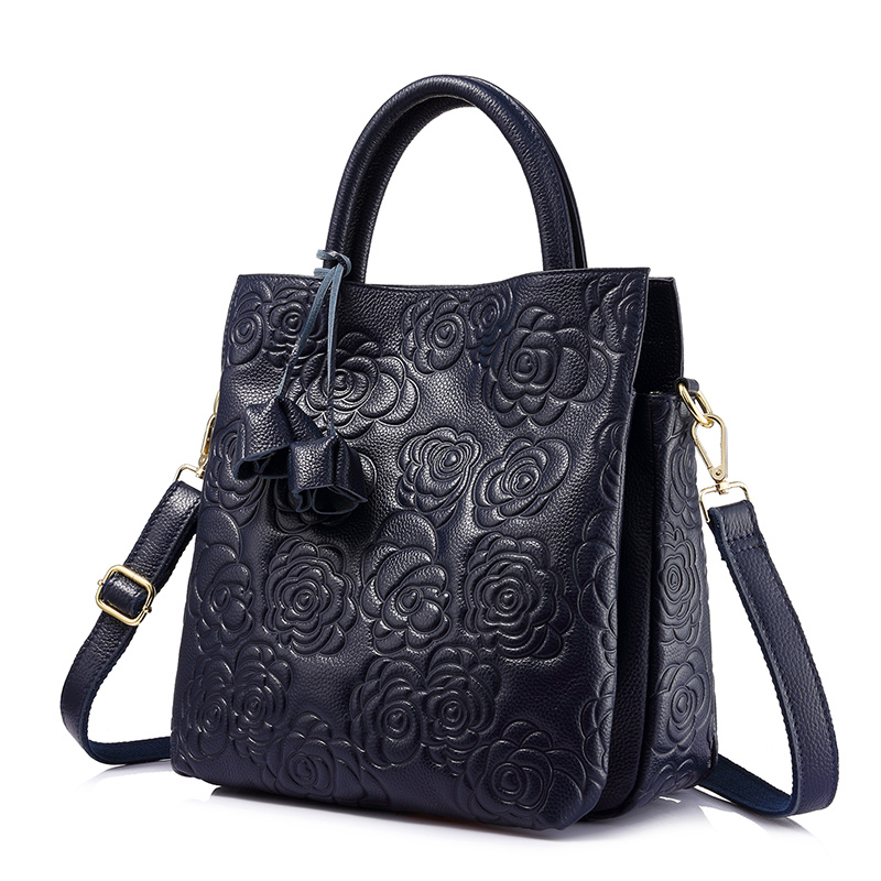 REALER brand genuine leather handbag female leather black tote bag high quality floral embossed handbag ladies