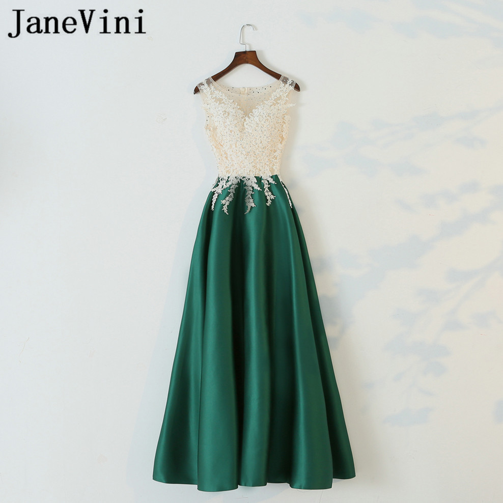 JaneVini 2018 Elegant Green Satin Women Wedding Party Dress Beaded Lace Sleeveless Long Bridesmaid Dresses Formal Occasion Gowns