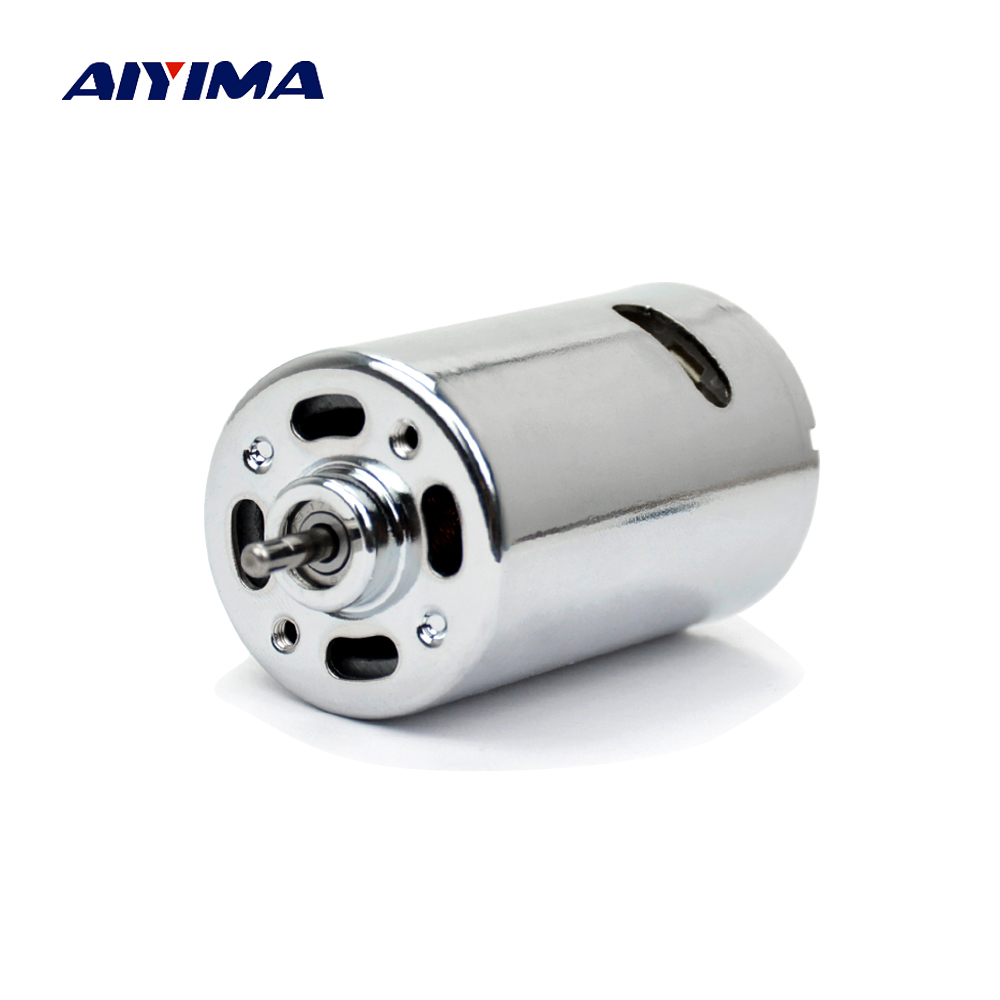 Aiyima DC Motor Strong Magnetic 555 Double Ball Bearing 12-24V High Torque DIY Electric Drill Electric Mill Model Car Motor aiyima double ball bearing motor dc 12v dc 24v three phase hall dc brushless motors high torque mute wind turbines for diy