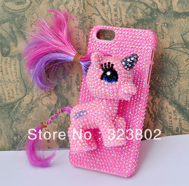 Handmade Pink AB Rhinestone Hard Shell Case Cover For Apple iPhone 5 5C 5S 5G Generation with MY LITLLE PONY