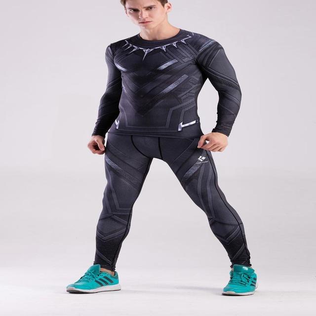 Hombre 3D Patrón Impreso Pantalones de Las Medias de Compresión Hombres Capitán América Gymshark Gimnasio Polainas Flacas Pantalones Ropa Masculina