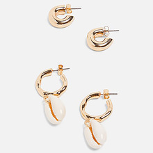 2 Pairs of Simple Shell Earrings set European Personality C-shaped Metal Baroque Street Beat Temperament Jewelry