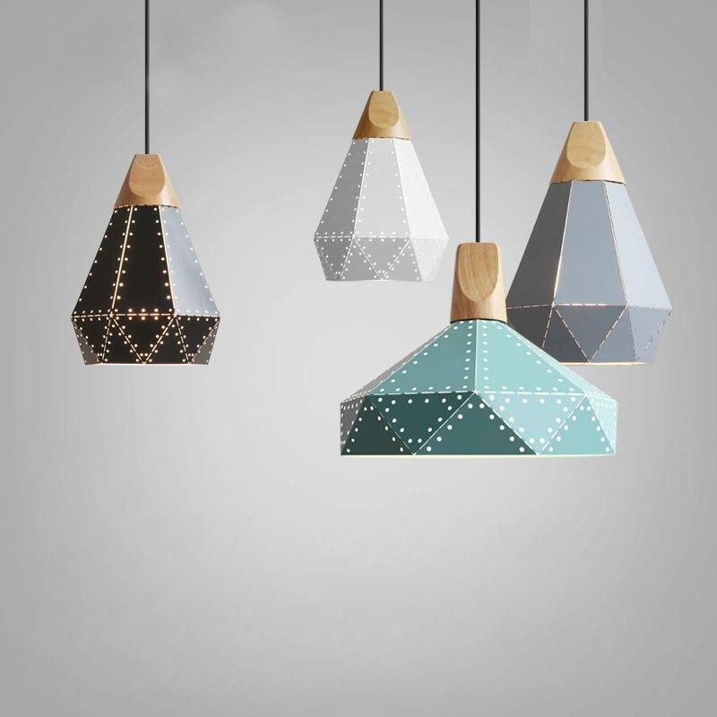 Modern Wood Pendant Lights Iron Minimalist Retro Light Colorful Restaurant Coffee Bedroom Loft Pyramid lamp Metal Cage led декоративні лампи із дерева у стилі бра