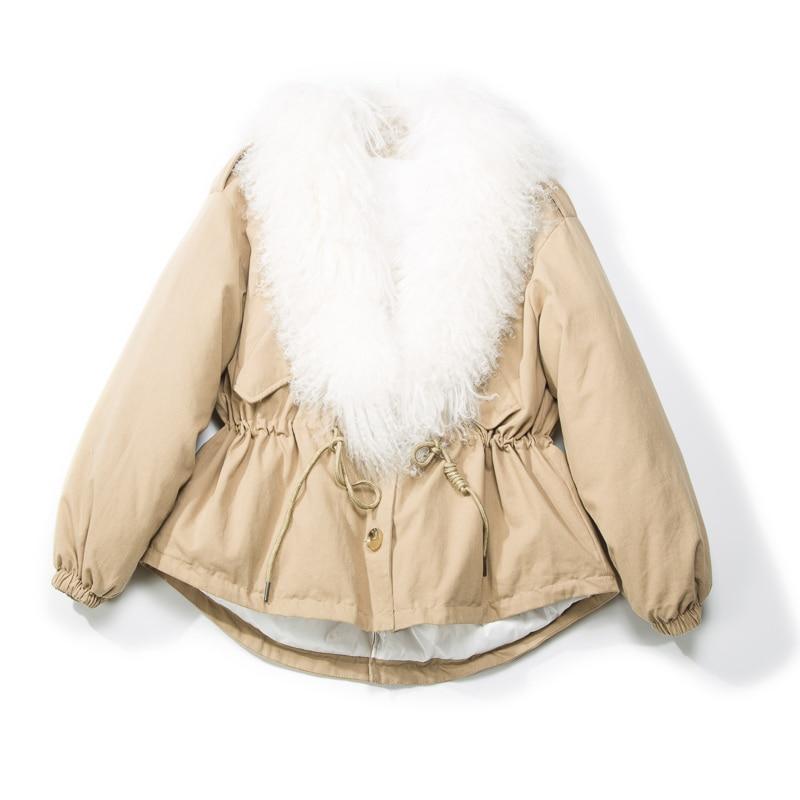 2018 Winter Jacket Women Real Fur   Coat   Natural Sheep Fur Jacket Loose White Duck   Down   Jacket Female Warm   Down   Parka Women   Coat