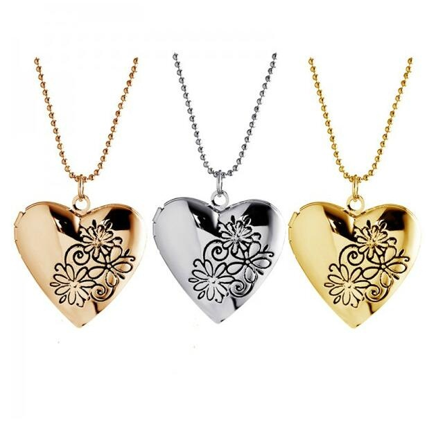 Valentine Lover Gift Flower Patterns Carved Photo Frames Can Open Locket Heart Shape Necklace For Women Jewelry  locket