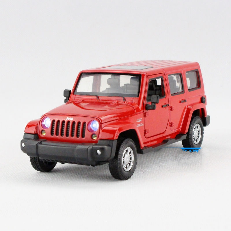 Children Lights & Sound Caipo Jeep Rubicon Diecast Car Model 6inch1:32 Diecasts Metal Cars Toy Pull Back Gift For Kids