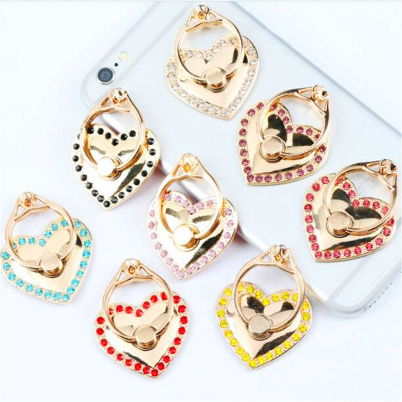 Galleria fotografica UVR 360 Degree Metal Finger Ring Heart diamond Smartphone Stand Holder Mobile Phone Holder Stand For iPhone Xiaomi All Phone#