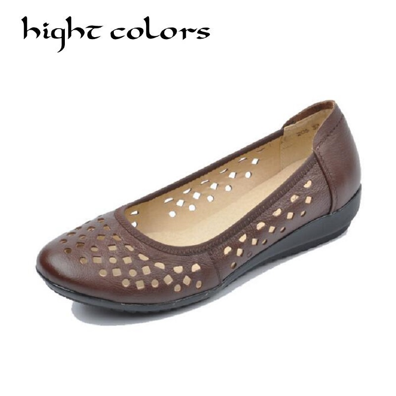 New 2018 Women Genuine Leather Shoes Slip-on Ballet Flats Comfort Woman Shoes Summer Cutout  Breathable Moccasins Mother Shoes new hot sale women shoes breathable buckle slip on for women comfortable dress shoes genuine leather white colour free shipping