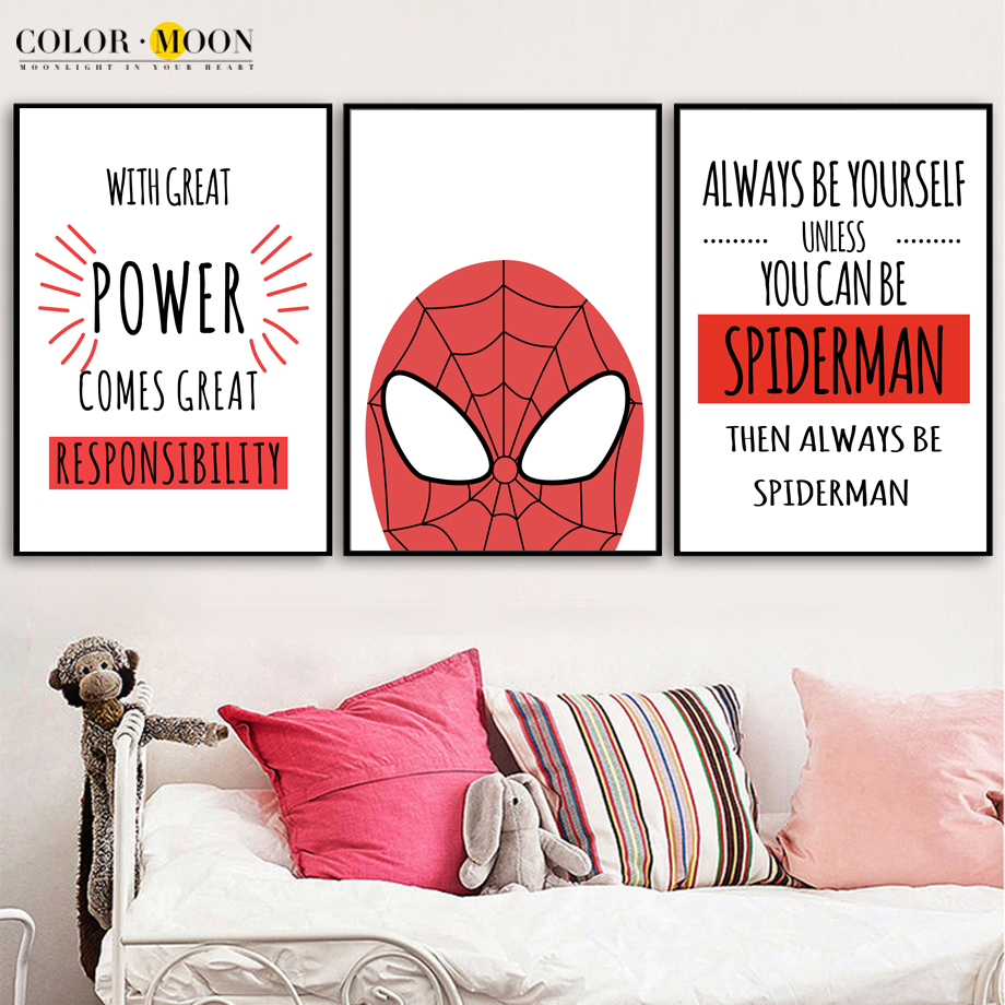 Colormoon Superhero Spiderman Quotes Posters And Prints Canvas Painting Nordic Poster Wall Art