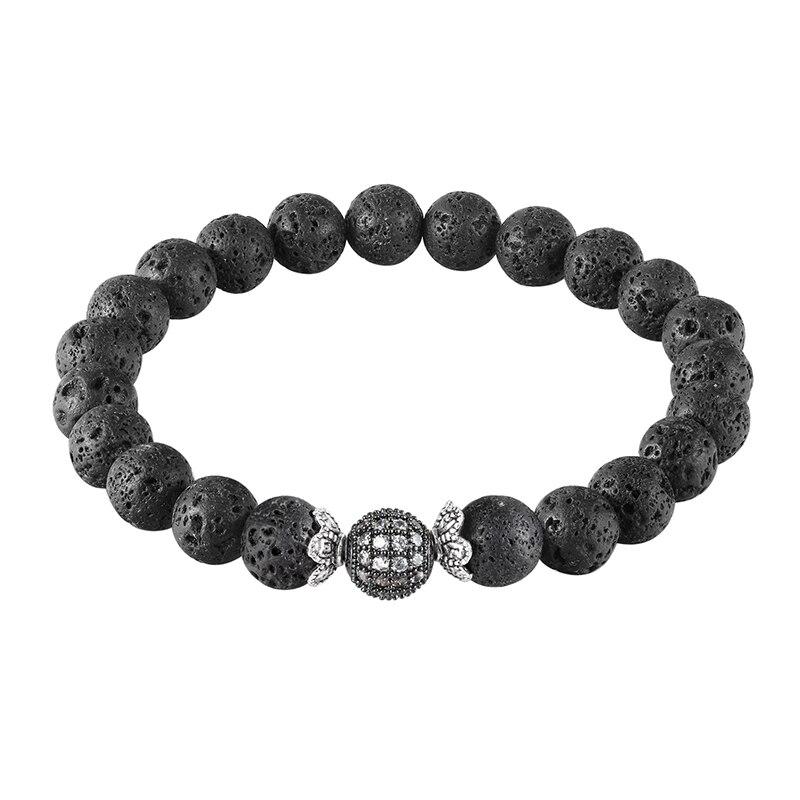 JAAFAR 2018 Nouveau Mode Haute Qualite Pierre Naturelle Perles Et Noir CZ Boule Hommes Charme Bracelets Hommes Bijoux Cadeau