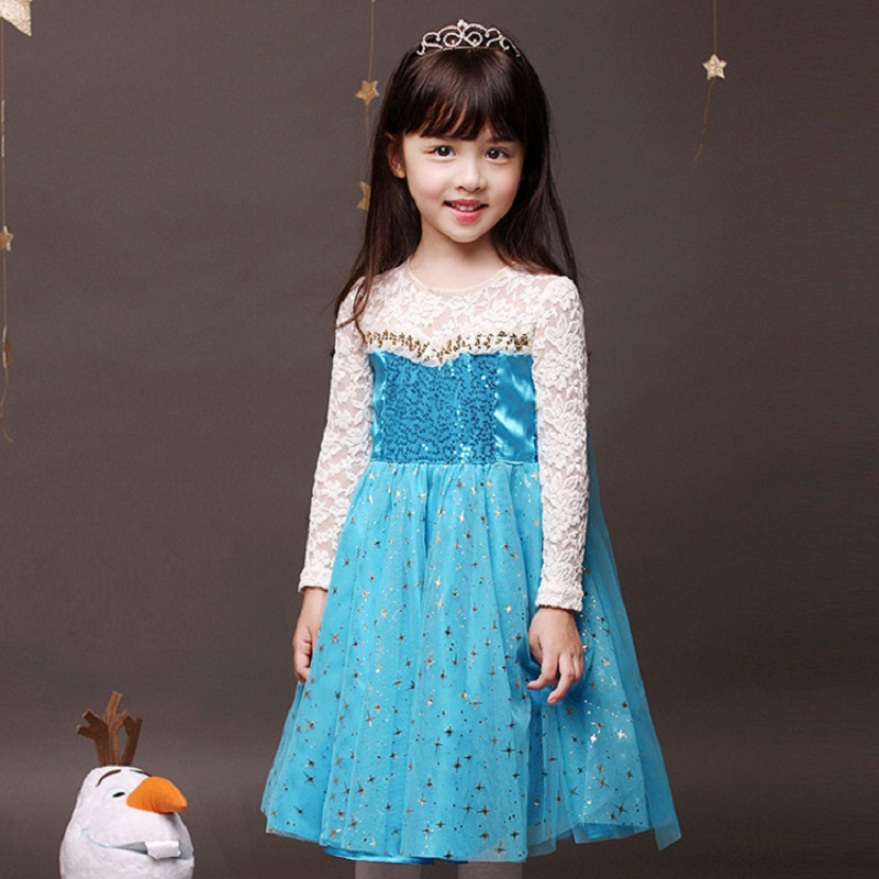 Hot Sell Elsa Princess Girls Lace Dress Long Sleeve Children Christmas Dress with Bag Printed Kids Dresses for Girls Clothing acthink 2017 new girls formal solid lace dress shirt brand princess style long sleeve t shirts for girls children clothing mc029