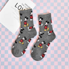 Spring high quality cute cartoon mouse socks fashion casual Funny comfortable breathable cotton white gray sox