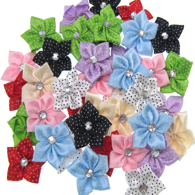 30Pcs Handmade Mixed Satin Dot Ribbon Flower Acryl Rhinestone Fabric  Flowers Applique Craft Wedding Decorations 3.5cm-in Artificial   Dried  Flowers from ... 8f8213b47174
