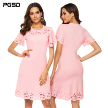 PGSD New Summer Hollowed out Short sleeve hip Pink O-collar Slim casual dress female Simple Fashion solid Colored Women Clothes