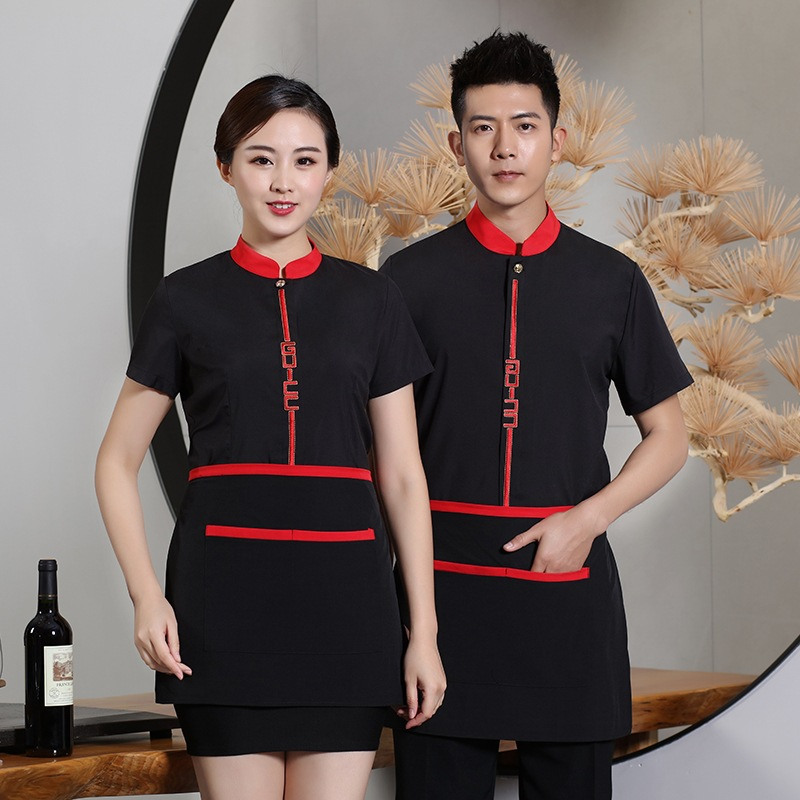 Waiter's Workwear Short Sleeve Hotel Chinese Teahouse Restaurant Uniform Waitress Clothing Hot Pot Summer Jacket Overalls H2137