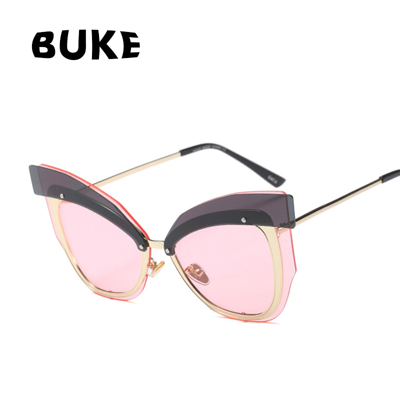 BUKE 2018 Cat Eye Women Sunglasses Brand Designer Sun Glasses For Female Goggles UV400 Sunglasses Women Ladies oculos