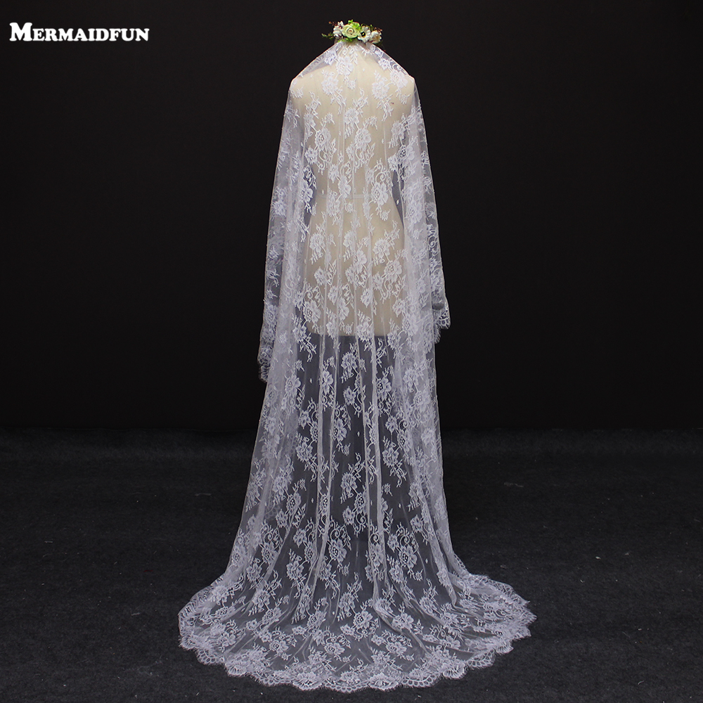 2017 Real Image Beautiful Flower Lace 2 Meters Wedding Veil WITH Comb White Ivory Bridal Veils