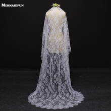 2017 Real Image Beautiful Flower Lace 2 Meter Bryllupsslør MED Kam Hvid Ivory Bridal Slør