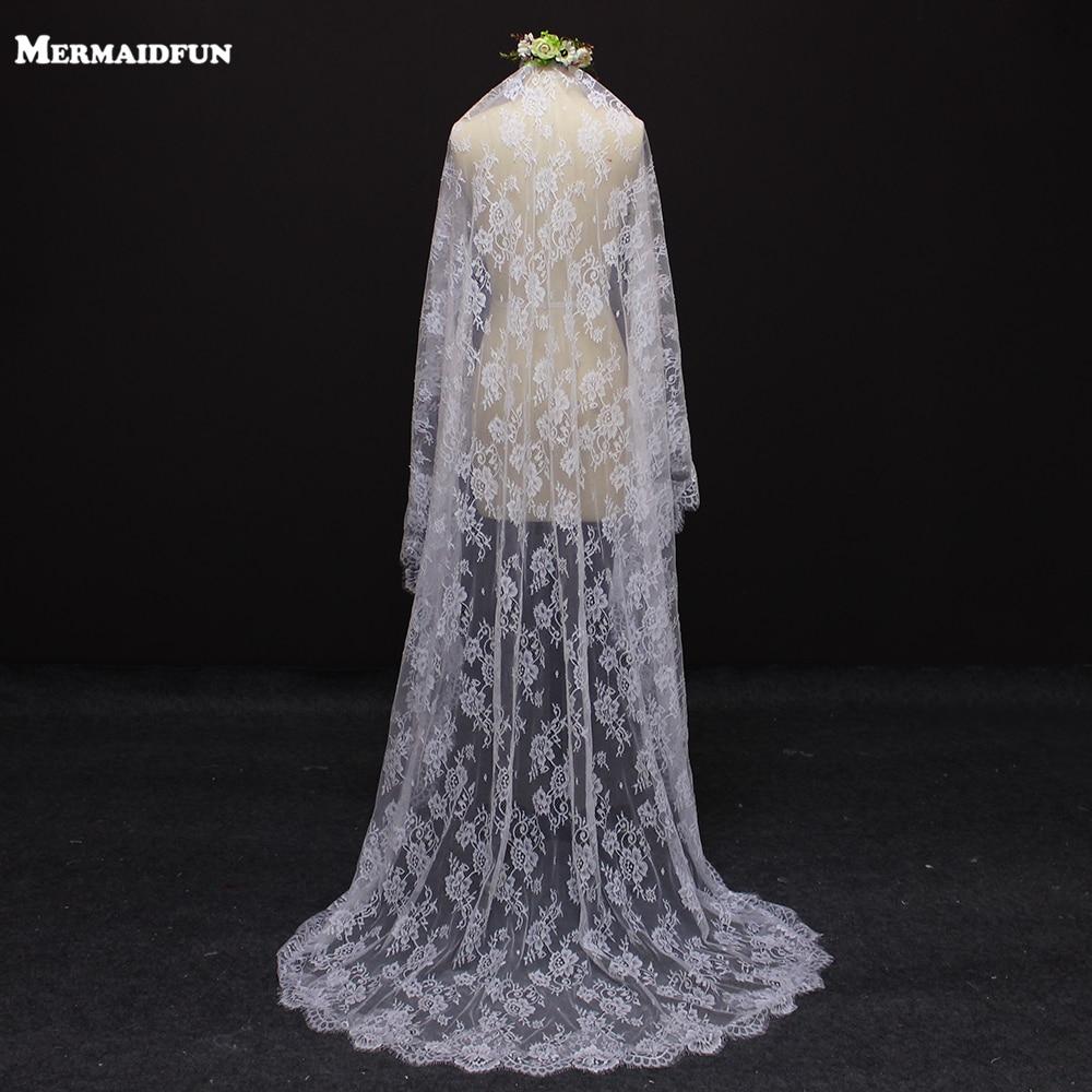 2017 echte afbeelding mooie bloem kant 2 meter bruidssluier MET kam - Bruiloft accessoires - Foto 1