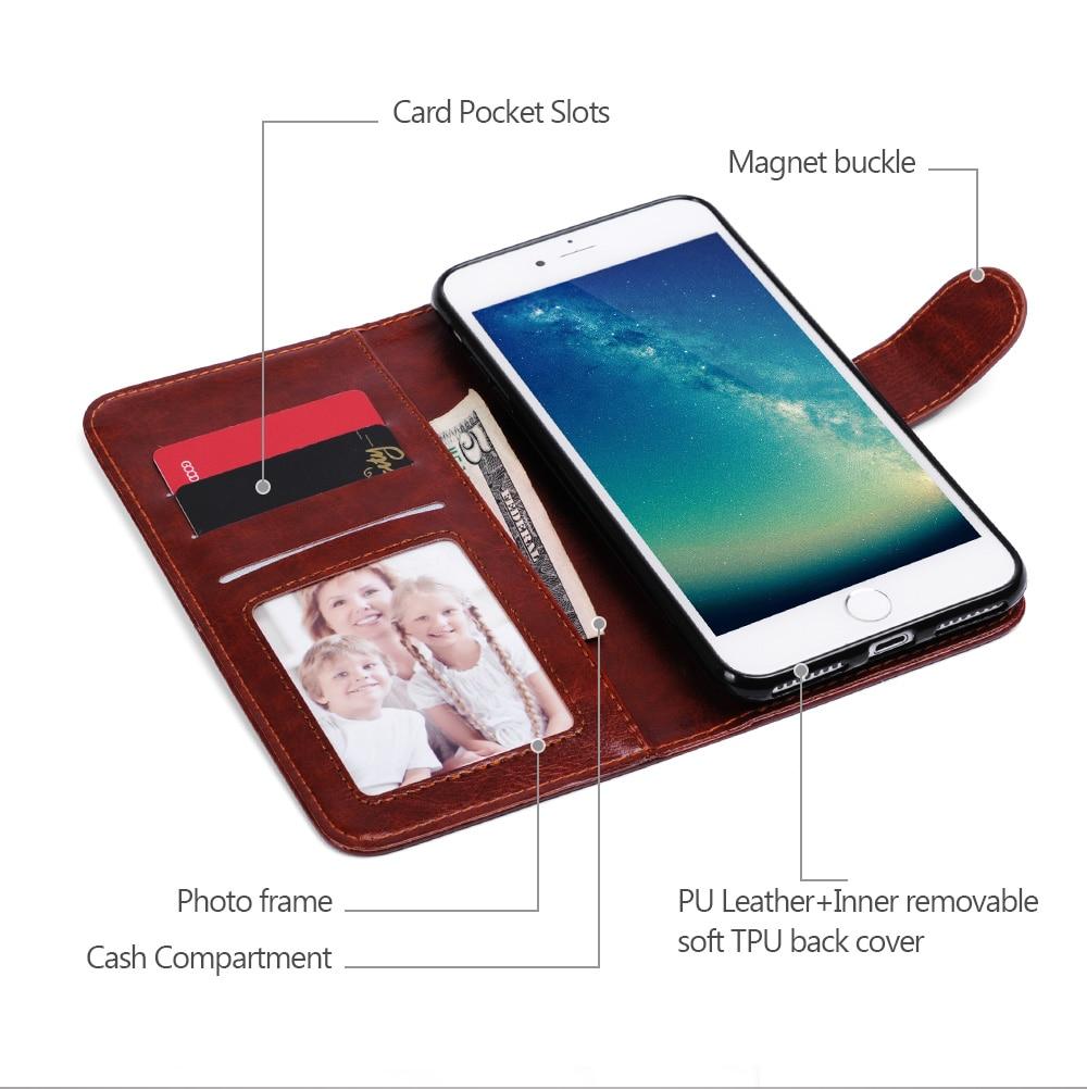 Untuk iPhone 7 Ditambah Kasus Mewah Dompet Magnet 2 In 1 Dilepas - Aksesori dan suku cadang ponsel - Foto 2