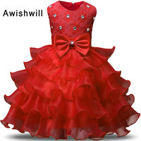 Cheap On Sale Newest Flower Girl Dress Sleeveless Beaded Lace Bow Belt Tiered Organza Red Royal