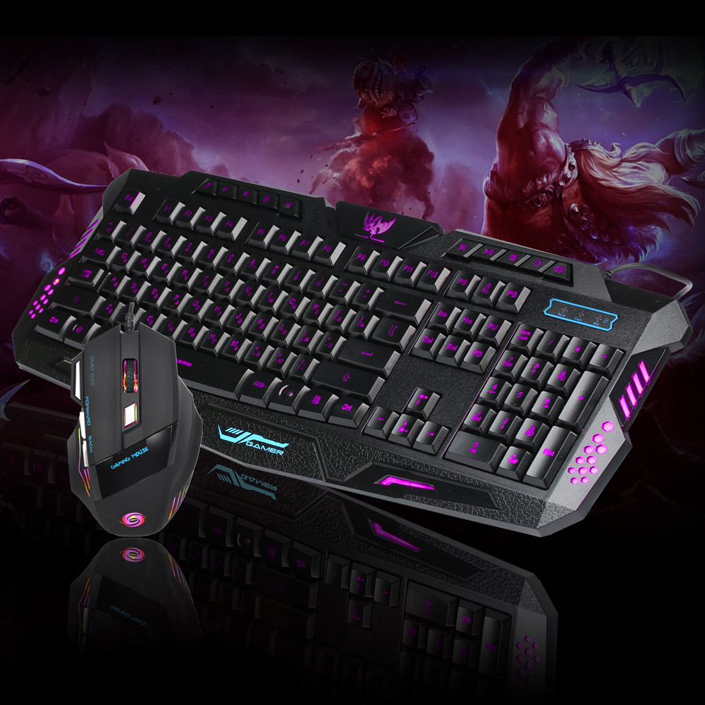 LED Rainbow Backlight Gaming Wired 2.4G Keyboard And 5500DPI Mouse Computer Multimedia Gamer Keyboard Mouse Set Gaming Pc