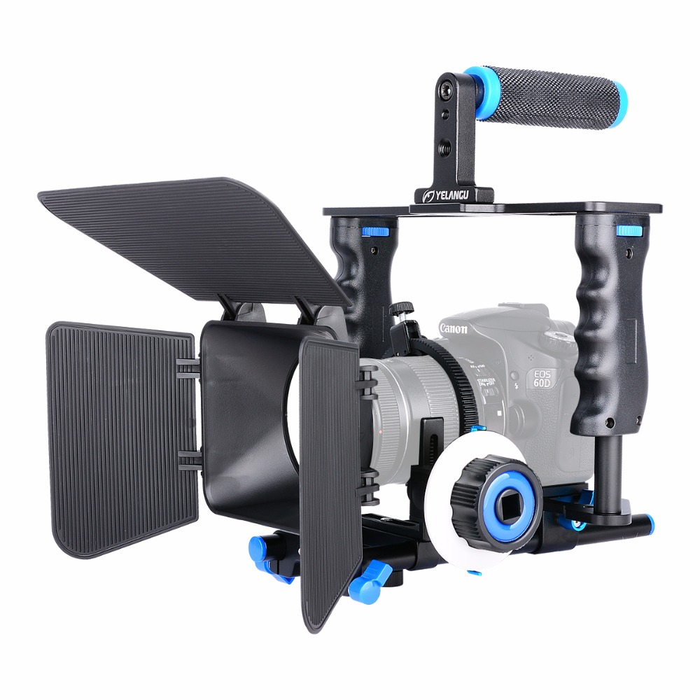 YELANGU Aluminum Alloy Camera Video Cage Kit Film System With Video Cage Top Handle Grip Matte Box Follow Focus for DSLR yelangu aluminum alloy camera video cage kit film system with video cage top handle grip matte box follow focus for dslr