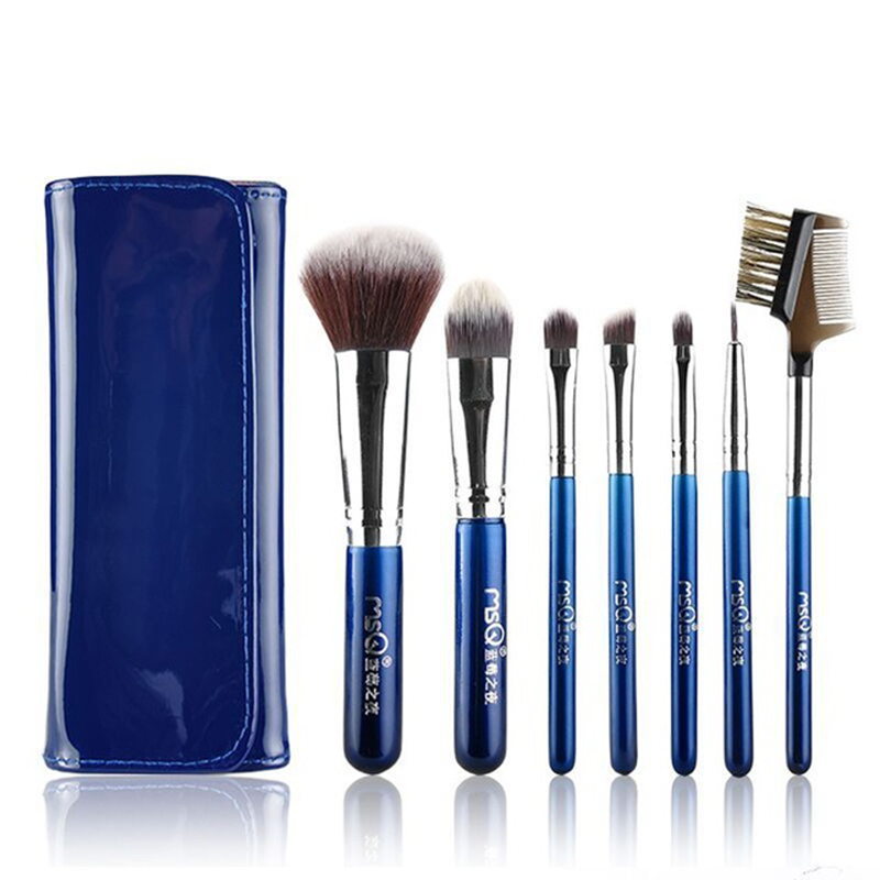 MSQ Professional 7pcs Blue Travel Makeup Brushes Set Soft Artificial fiber with PU Leather Case Fashion Beauty makeup tool msq 15pcs professional makeup brushes set foundation fiber goat hair make up brush kit with pu leather case makeup beauty tool
