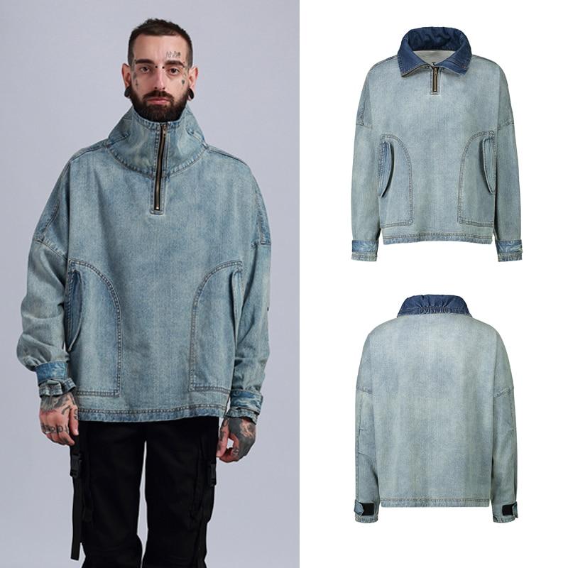 2019 jackets high street warm blue jacket men Hip Hop style Jacket Men Coat Casual  hot selling Jeans jacket men designer
