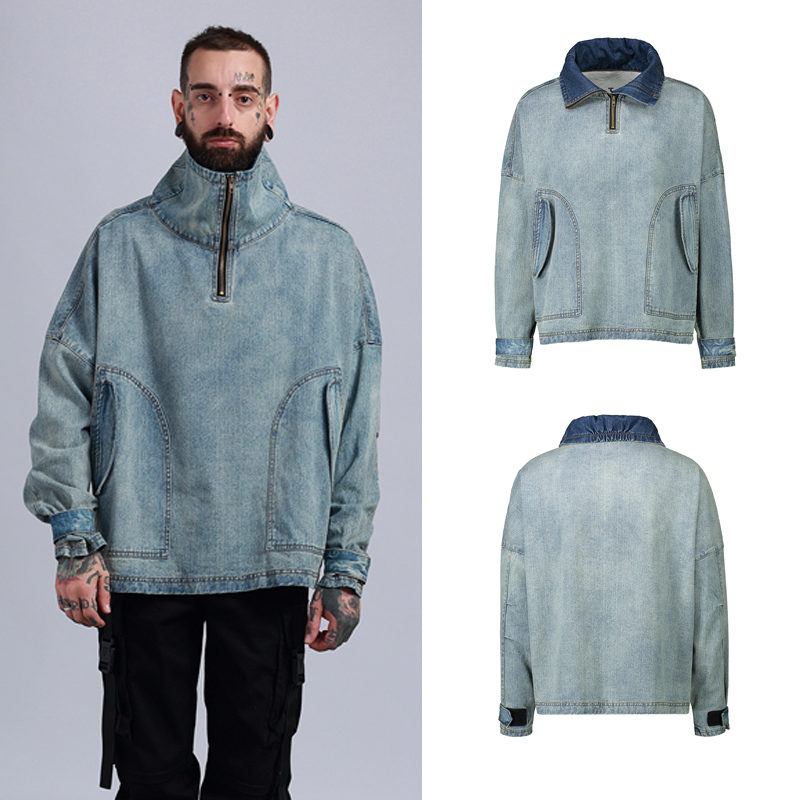 2018 jackets high street warm blue jacket men Hip Hop style Jacket Men Coat Casual hot selling Jeans jacket men designer