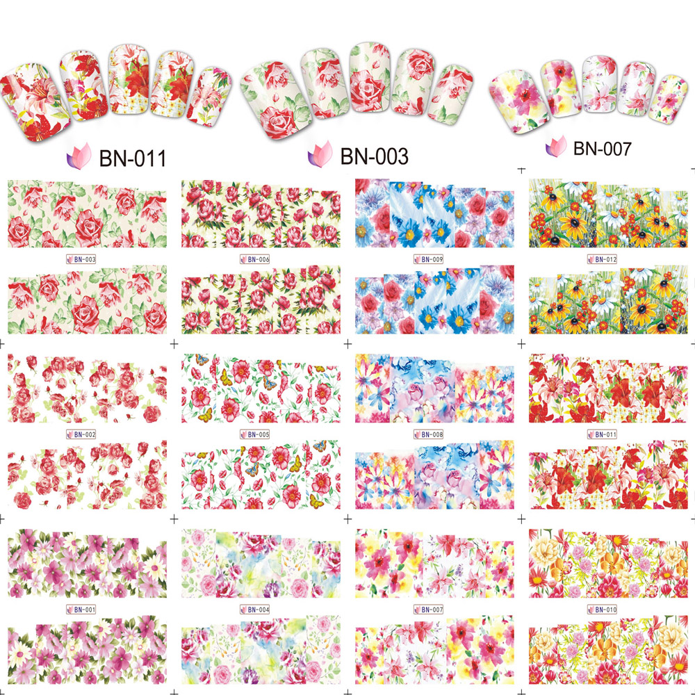 12 PCS/Set Mixed Design Water Transfer Nail Sticker Decals Manicure Accessories For Art Watermark Tips BN1-12