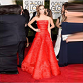 Hot Red Strapless Celebrity Dresses 2017 Beaded Tiered A-Line Luxury Long Red Carpet Dresses Sexy Party Dresses Vestidos Longo