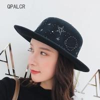 QPALCR 2018 Winter Women Hats Wool Fedoras Vintage Girls Flat Top Fedoras Wool Felt Hat Hand Embroider Starry Bead Church Hats