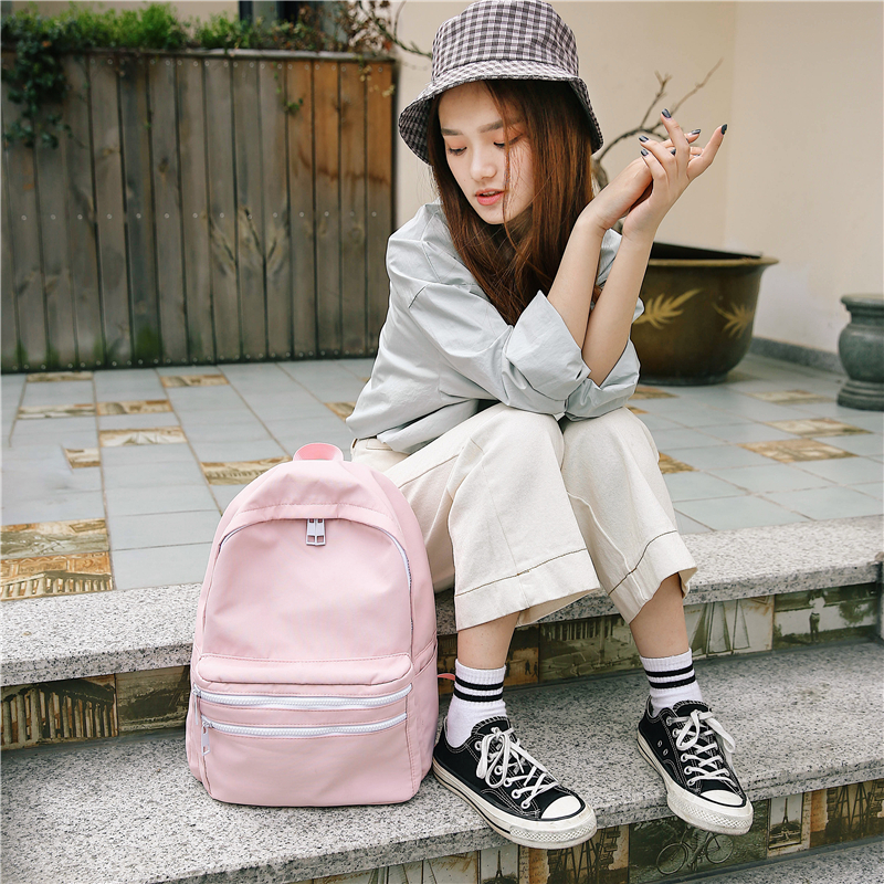 DCIMOR Solid Color Women Canvas Backpack Large Capacity School Bags for Teenagers Girls Travel Backpacks Female BookBag Mochila