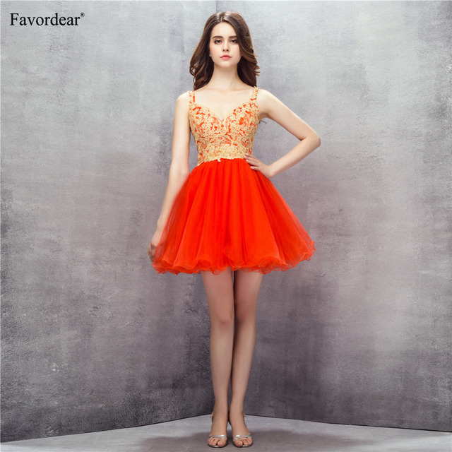 Favordear 2018 New Arrival Sexy Backless Red Mini Cocktail Dress Gold Lace  Appliques Sexy V Neck Ruffle Short Formal Party Gowns d1dd8d455af9