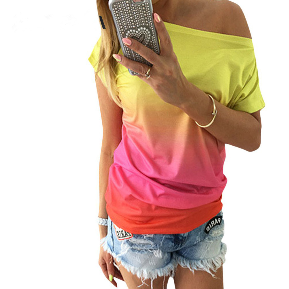 VESTLINDA-Summer-Women-Tops-Dye-Print-Tee-Shirts-Short-Sleeve-Gradient-Color-Casual-One-Shoulder-Slash_